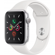 Apple Watch Series 5, 40 мм, корпус из алюминия серебристого цвета, спортивный браслет белого цвета