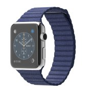 Apple Watch 42mm Stainless Steel Case with Bright Blue Leather Loop