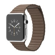 Apple Watch 42mm Stainless Steel Case with Light Brown Leather Loop